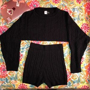 Knitted Sweater Set with Cropped Top & Shorts